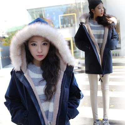 冬装女装2015秋装羊羔新款棉布大码韩版中长款加厚外套绒棉衣