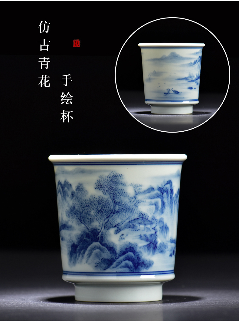 Blue and white archaize ceramic cups imitation wood under a single glaze color hand - made home use large kung fu masters cup by hand