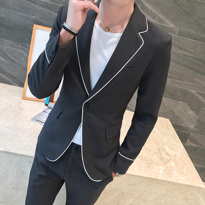 Mùa thu đông dài tay nhỏ phù hợp với nam Anh cá tính viền trắng đẹp trai BF phù hợp với áo hai dây xã hội - Suit phù hợp