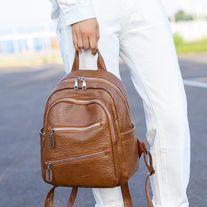 双肩包女背包2020新款韩版潮时尚百搭pu软皮女士旅行逛街休闲小包