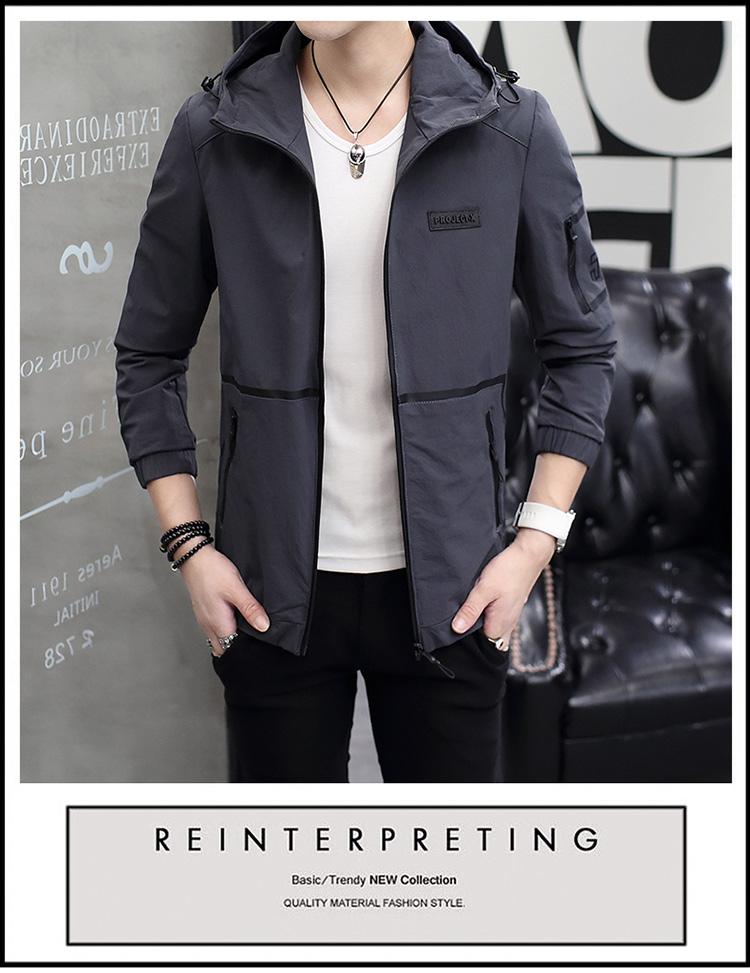 2018 mùa thu mới áo khoác nam trùm đầu thanh niên phần mỏng giản dị mùa xuân và mùa thu áo kích thước lớn quần áo bên ngoài quần áo của nam giới