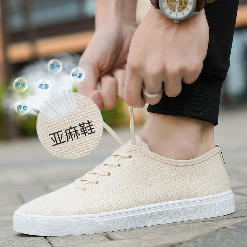 Của nam giới giày thường giày vải nam 2018 người đàn ông mới của giày thủy triều giày thoáng khí linen tuổi Bắc Kinh giày vải giày nam
