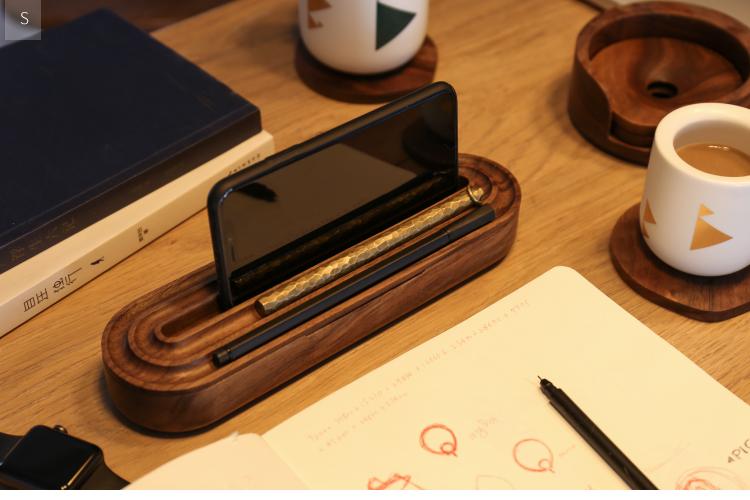 回形收纳盒[不然otherwise]黑胡桃笔盒 文具盒 桌面收纳盒
