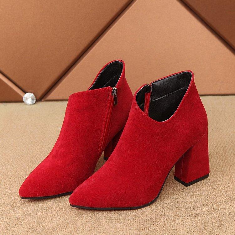 雨黛尔2017秋冬新品尖头短靴女 粗跟高跟女靴系带马丁靴红色婚鞋