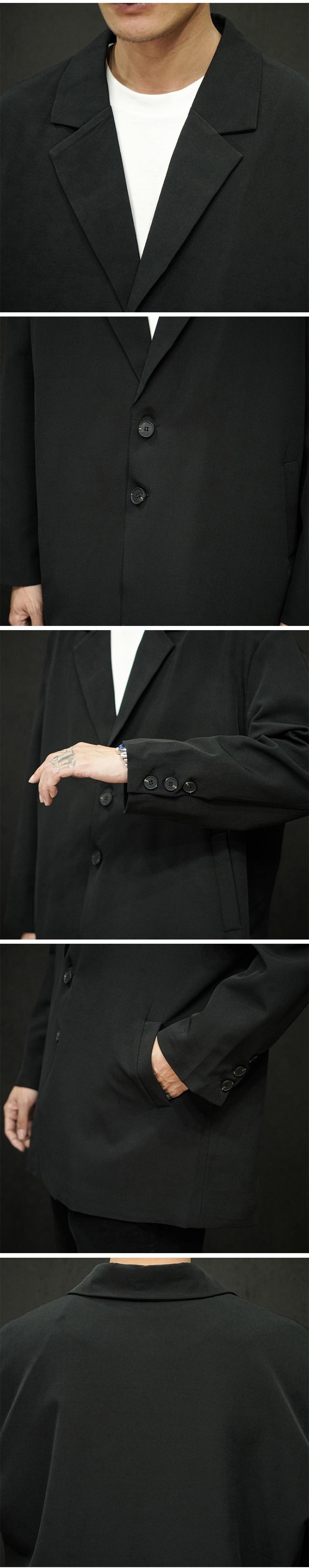 2020 春季日系 男士纯色 休闲西装A009-X911-P85 黑色 100锦棉