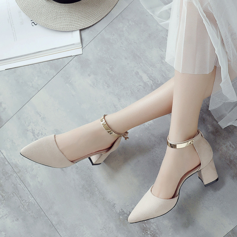 0798743d8ee 2019 summer sandals female high heels new thick with pointed Korean version  of the wild Baotou buckle small fresh hollow