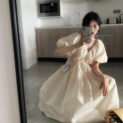 French three-dimensional jacquard V-neck puff sleeve mid-length first love dress white high-waisted thin fairy tutu skirt
