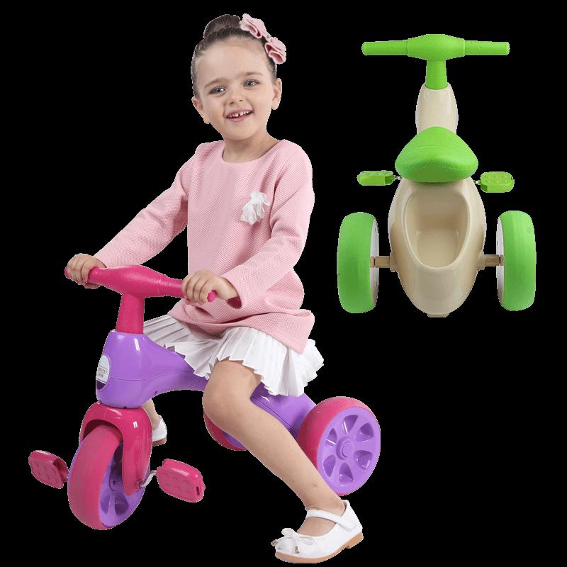 贝恩施儿童三轮车脚踏车1-3岁宝宝小孩童车3轮车溜遛娃滑行自行车_领取20元天猫超市优惠券