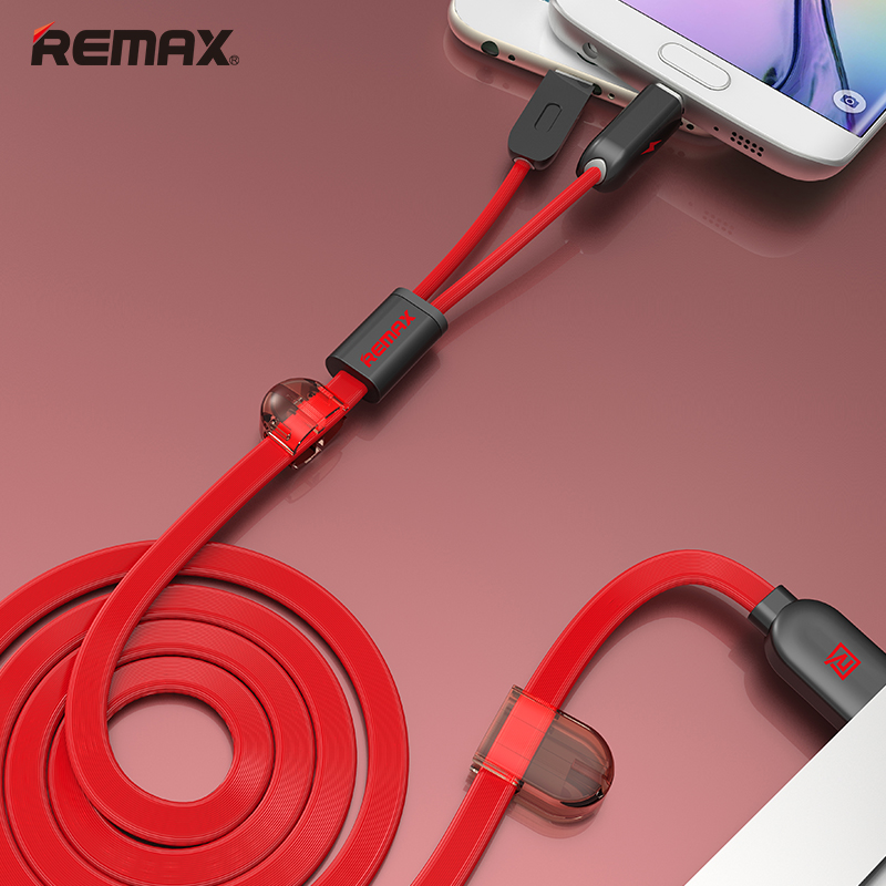 Remax-double data line 1 m - black red
