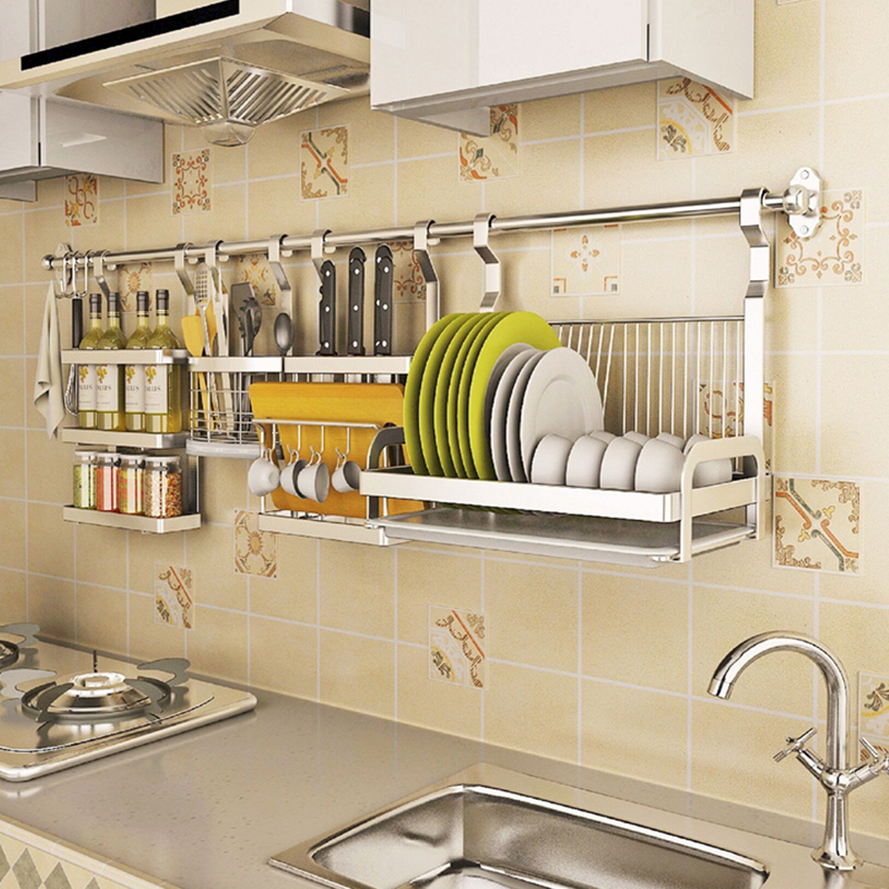 USD 31.38] Stainless steel kitchen shelf free punch hanging ...
