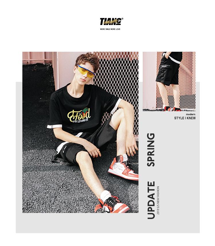 [TIANC BRAND Chen He] mùa hè cổ điển yếm trang trí vành đai quần short nam năm quần quần bó sát