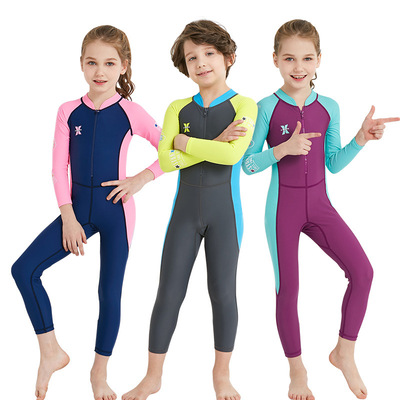 f0b782b51d761 Children's swimsuit Boys Girls long-sleeved pants sunscreen one-piece  quick-drying large children children snorkeling water bathing suit