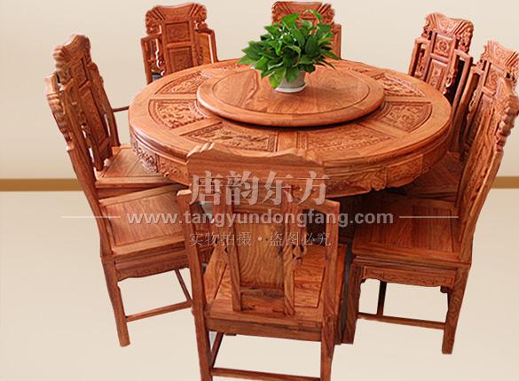 圆台餐桌老榆木