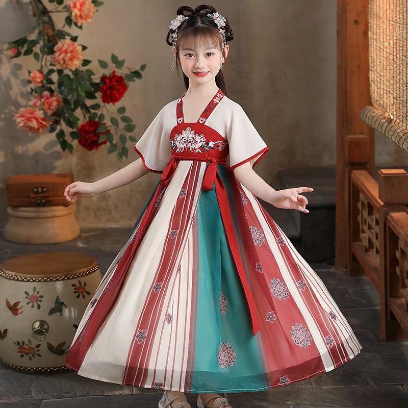 2021新款女童汉服连衣裙中国风
