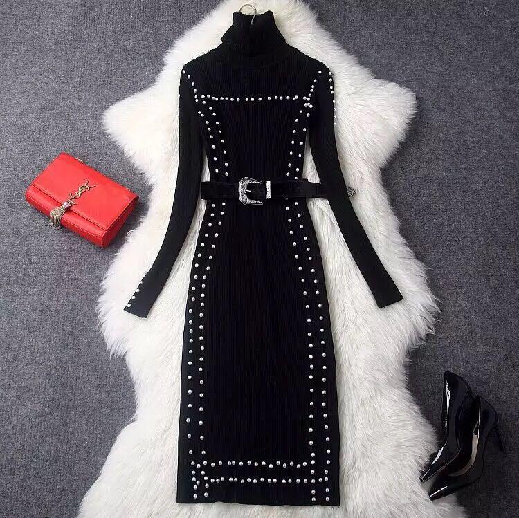 欧美钉珠风长袖黑色针织特价腰带高领女装收腰中长款连衣裙