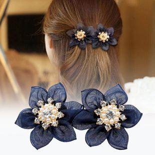 七彩格子头饰绢纱发夹饰品