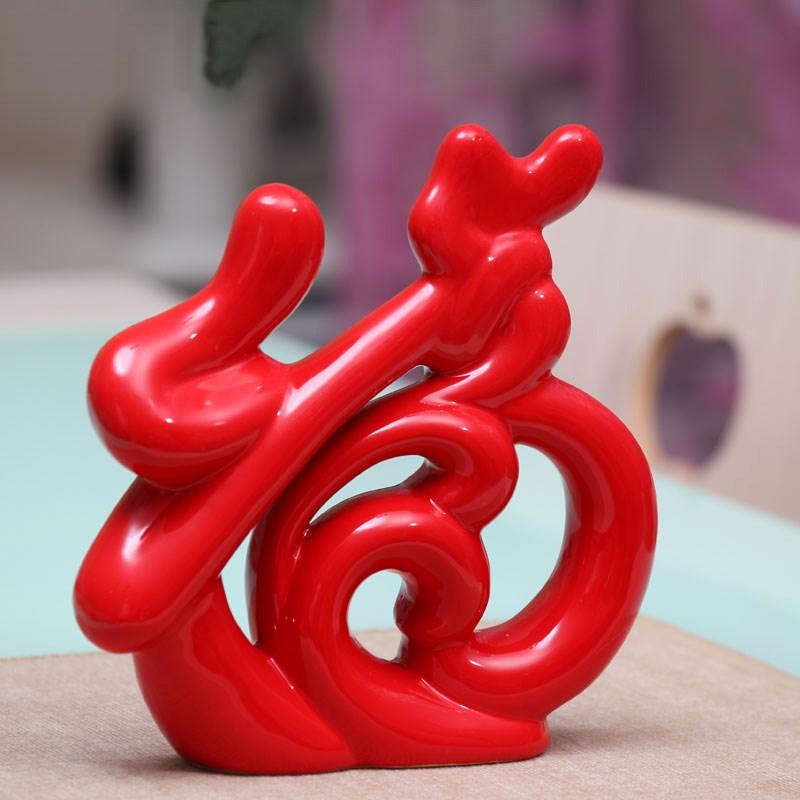 家居饰品陶瓷居家装饰摆件创意结婚礼物乔迁礼品红