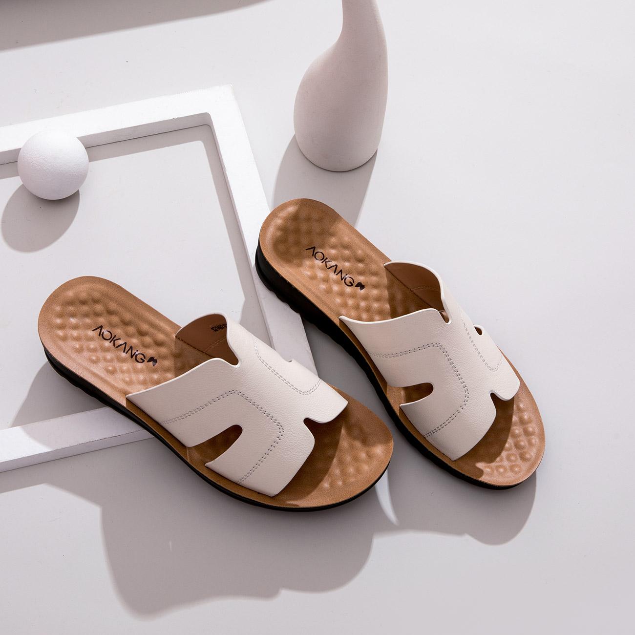 奥康女鞋 2021夏季新款真皮妈妈坡跟拖鞋外穿防滑软底中老年凉拖