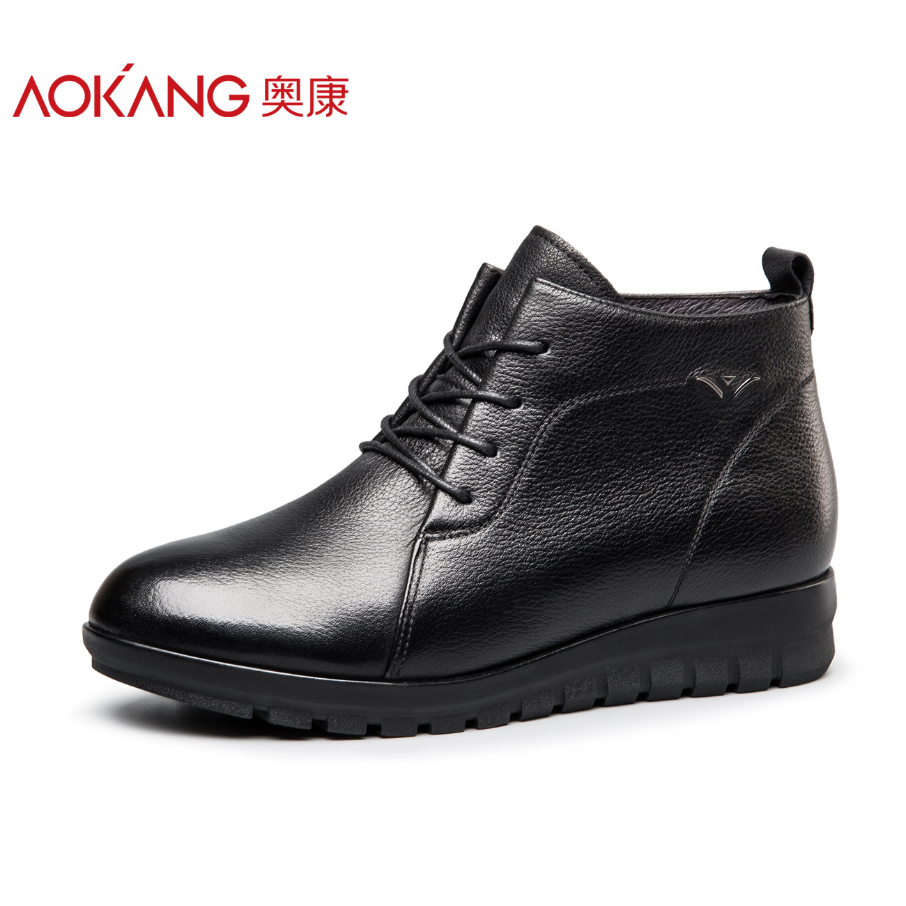 (store shipping) Winter shoes leather mother cotton shoes plus velvet warm anti-skid high help flat bottom comfortable ao kang women's shoes