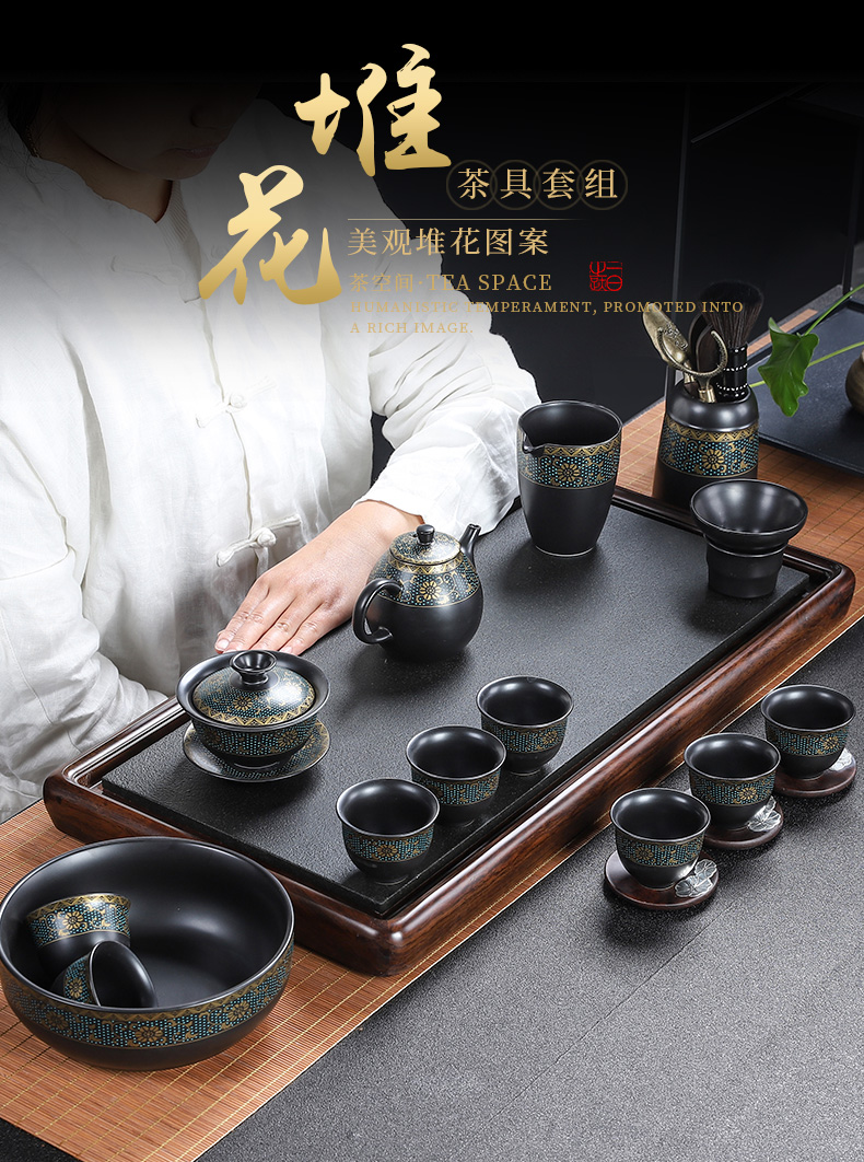 Building in the old section of the mud kung fu tea set suit, black pottery side of a complete set of restoring ancient ways as the home office contracted tea cups