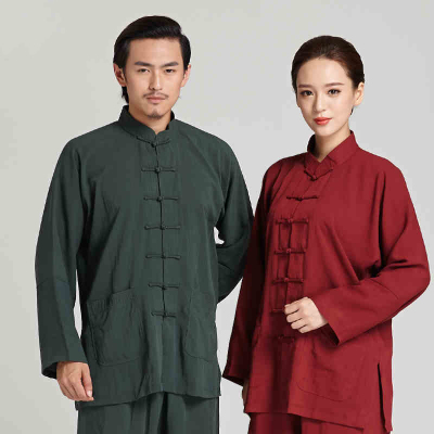 Tai Chi clothing men's long-sleeved linen Tai Chi martial arts performance morning exercise clothes women