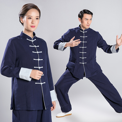 Tai Chi clothing men's linen morning practice layman suit Chinese style long sleeve exercise clothes women suit