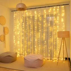 Waterfall curtain lights lantern string lights sky full of stars lighting net red ins bedroom rental house room renovation decoration