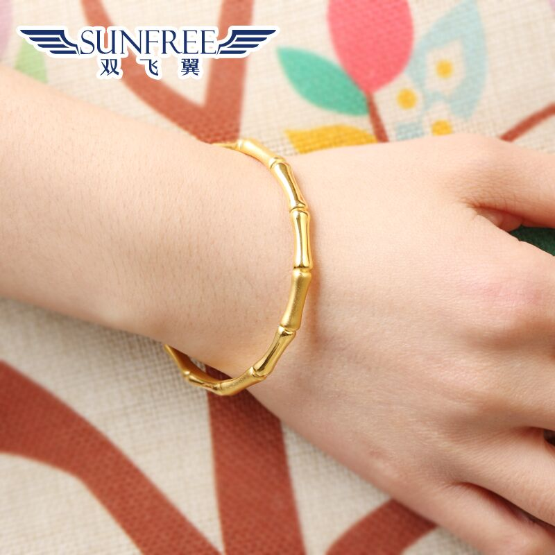 9279f67e44f Gold rich bamboo bracelets female models 3d hard gold 999 foot gold bamboo  festival section high 24K pure gold jewelry thin bracelet