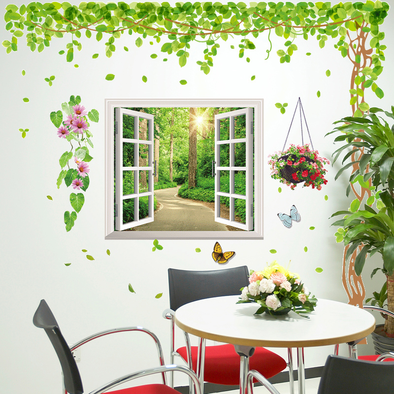 3d Wall Stickers Stickers Living Room Wallpaper Wallpaper Self Adhesive  Fake Window Trees Small Fresh