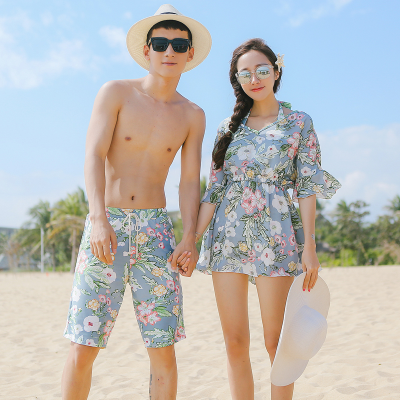 Ginger Brand New Romantic Small Chest Gather Cover Belly Was Thin Couple Models Swimsuit Mens Five Point Beach Pants