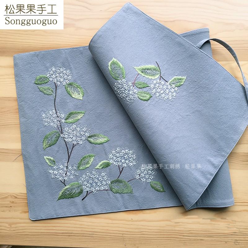 绣线菊茶席 手工diy松果果欧式刺绣餐桌布抱枕套材料包刺绣套件