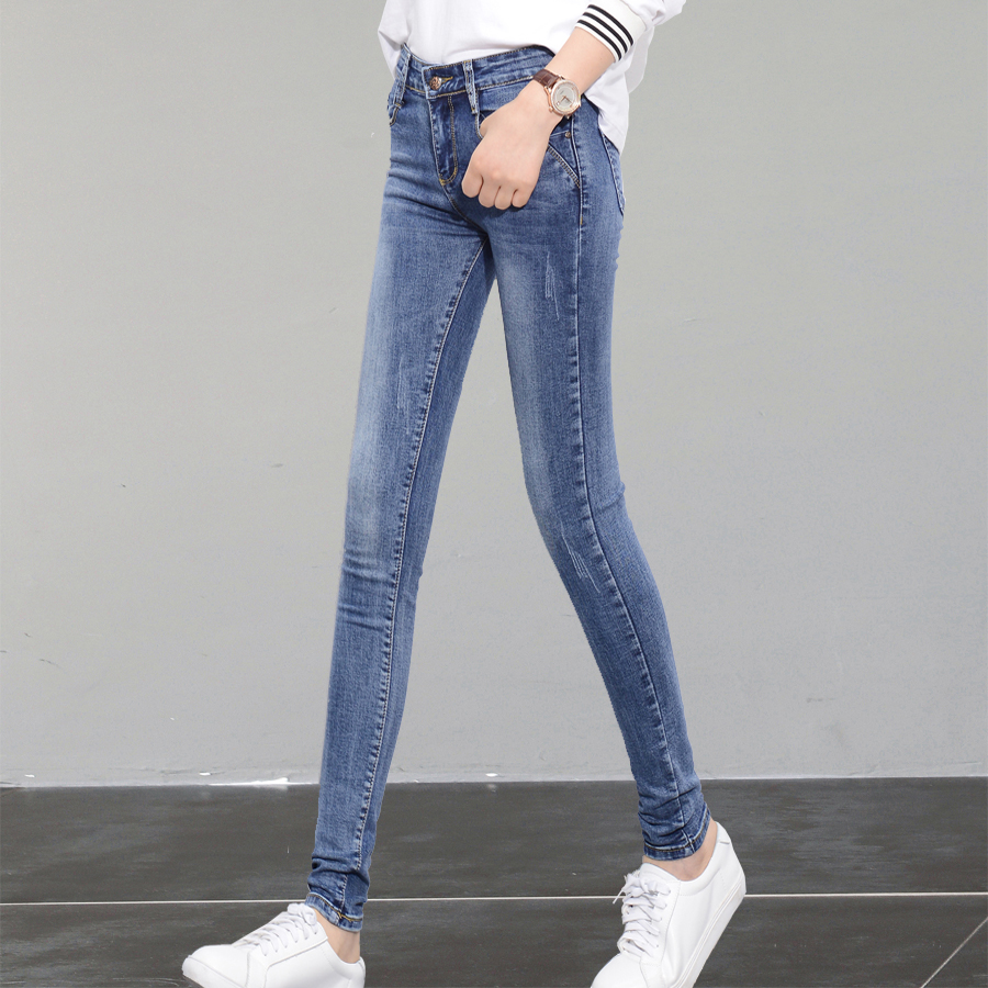 Real Shot Spring High Waist Light-Colored Jeans Female Stretch Tight Pants Feet Slim Was Thin Pencil Pants