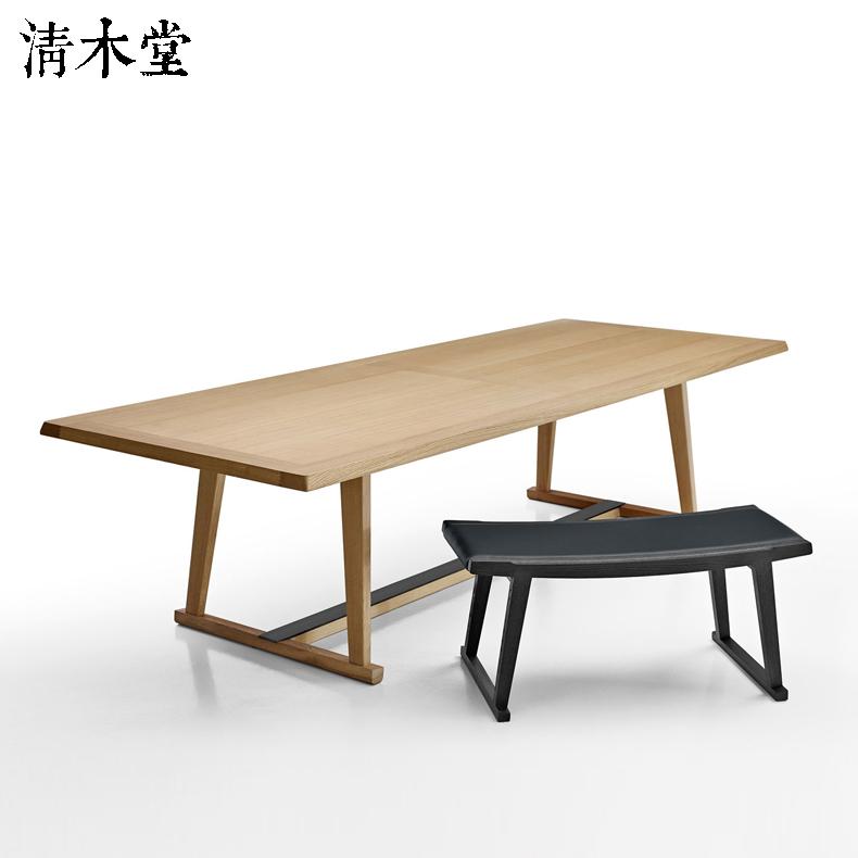 清木堂 新中式實木原木北歐簡約現代定制定做餐廳環保榫卯大餐桌