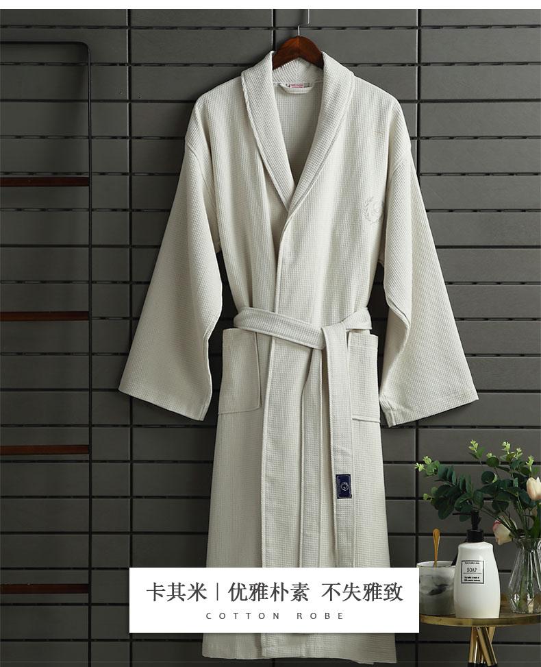 酒店浴袍长版纯棉浴衣成人男女士华夫格睡袍全棉吸水速干定製详细照片