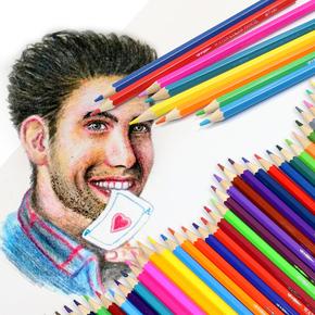 【小鱼儿】水溶性六角彩色铅笔12色筒装