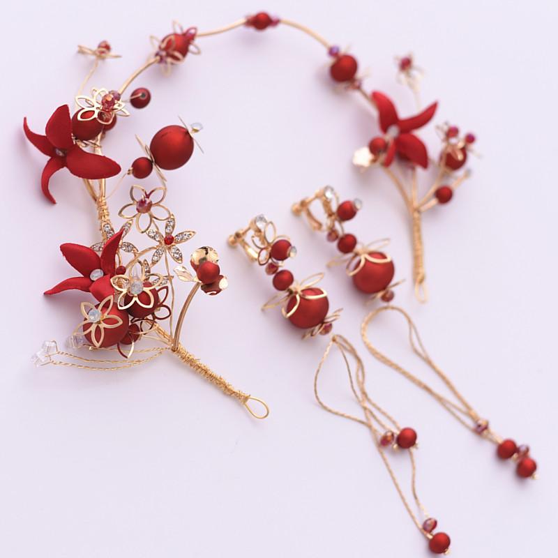 玫瑰新娘盘发耳环套装发饰精致敬酒服旗袍花朵头箍红色v玫瑰头饰品