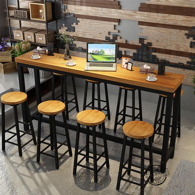 American Starbucks Wrought Iron Solid Wood Restaurant Bar Bar Table Chair  High Chair Bar Milk Tea