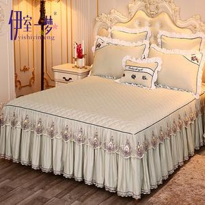 韩式席梦思加厚床罩夹棉床裙式床套单件保护套蕾丝1.8m米床公...