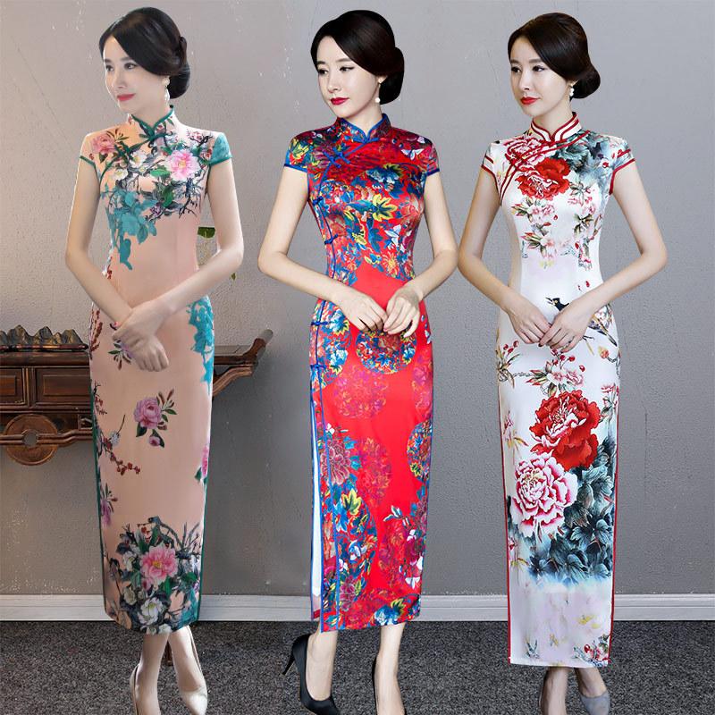 Chinese Dress Qipao for women Cheongsam year women's long retro elegant Chinese style show old Shanghai dress