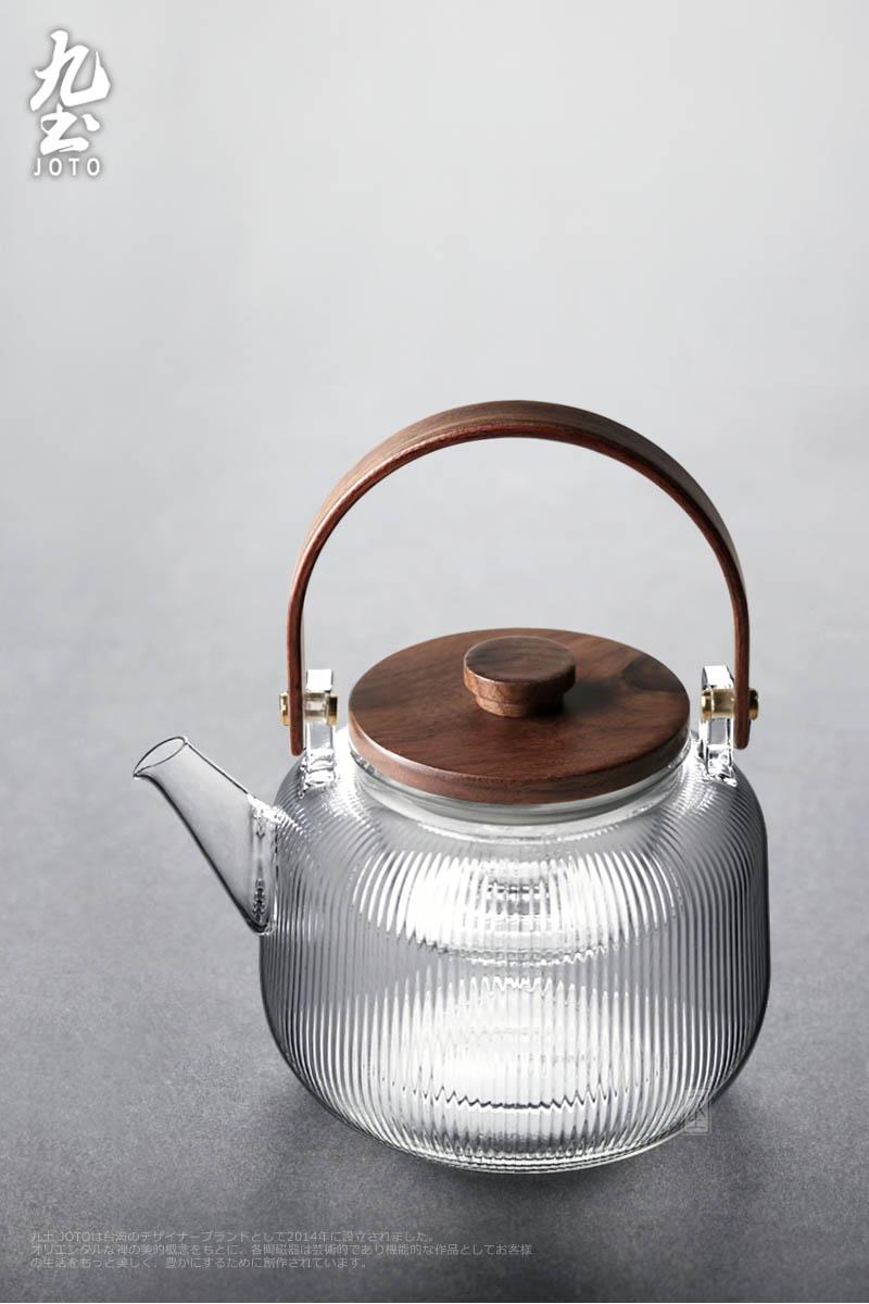 九土手工耐热玻璃双内胆胡桃木提樑泡茶壶日式蒸煮壶烧水黑晶炉用详细照片