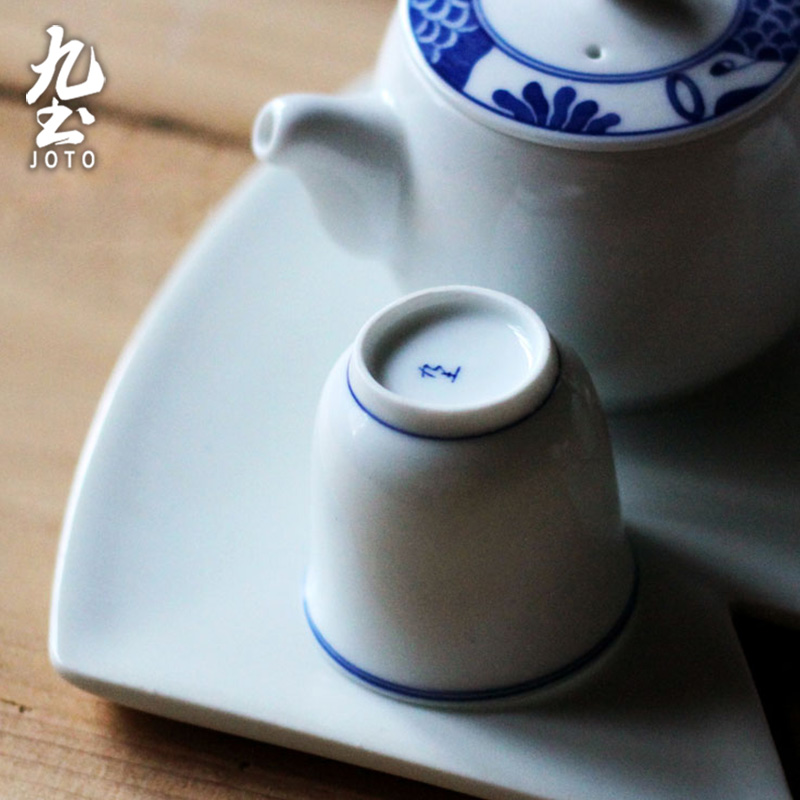 About Nine soil blue small tea cup jingdezhen blue and white porcelain tea set to restore ancient ways the tea taking Japanese xuan wen contracted tea cups