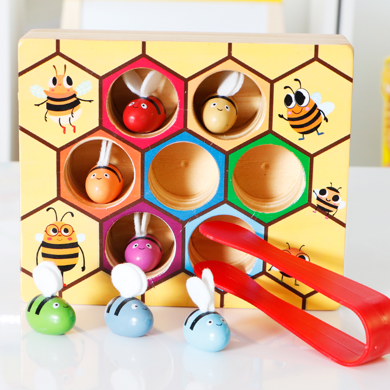 Montessori teaching aids children's early education toys 1 3 years old baby  puzzle clip beads exercise fingers flexible toys