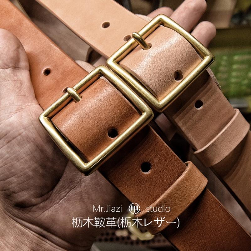 日本进口栎木枥木手工定制皮带头层牛皮真皮腰带复古咔叽潮休闲