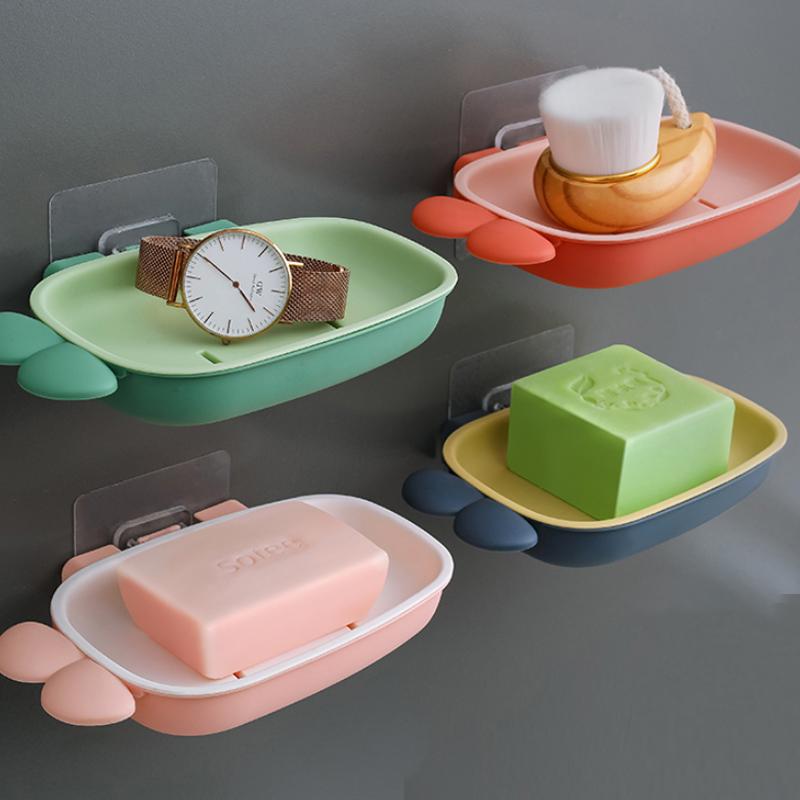 肥皂盒架子卫生间双层撞色创意沥水置物架家用壁挂式免打孔香皂盒