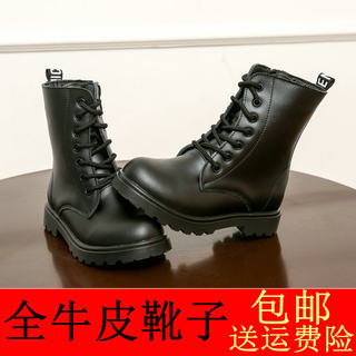 Boys' single boots, girls' shoes, spring and autumn leather boots, children's Martin boots, black army boots, summer high-top boots, big boys