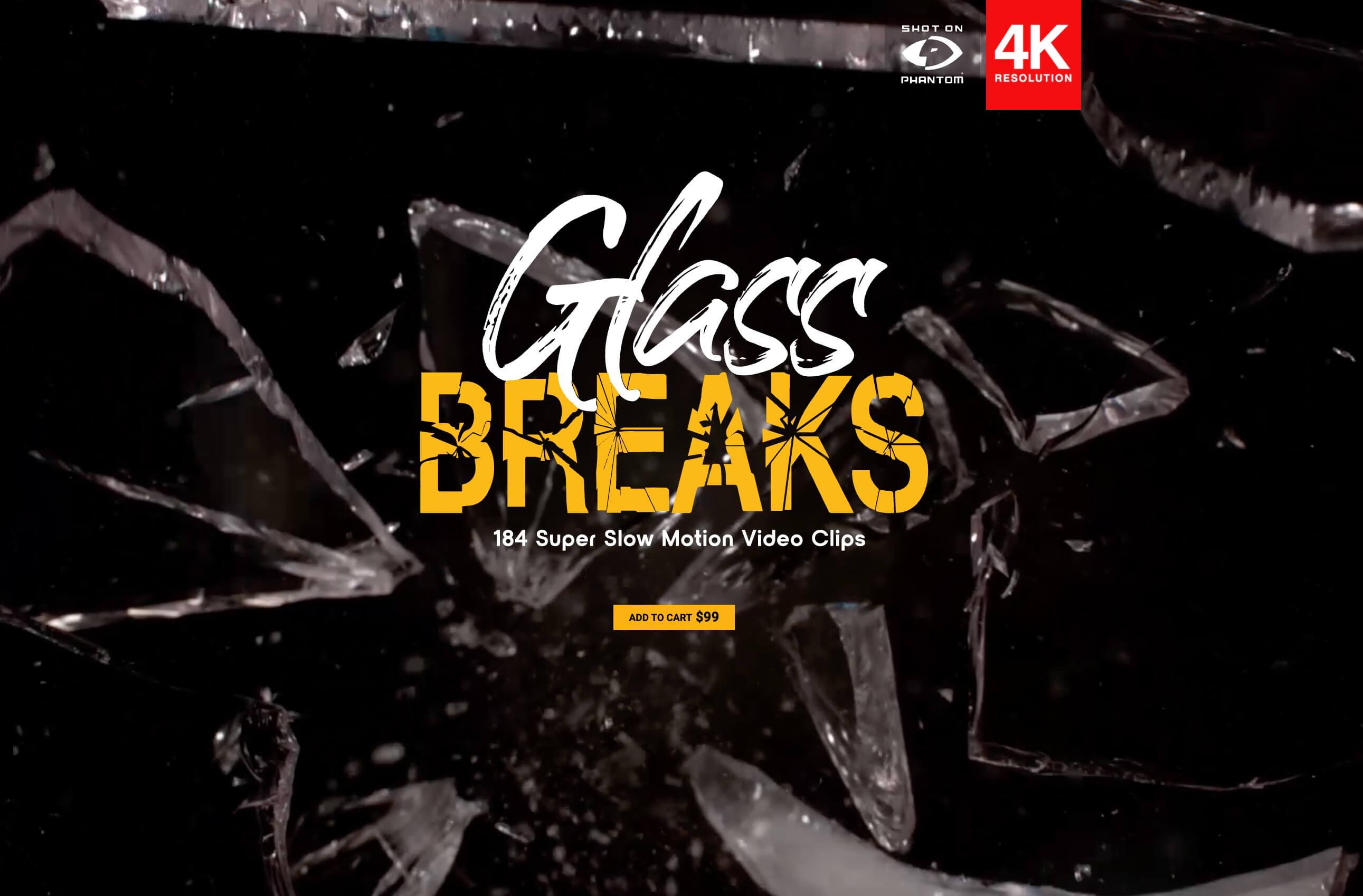 184组4K破碎玻璃超级慢动作转场背景特效合成高清视频素材