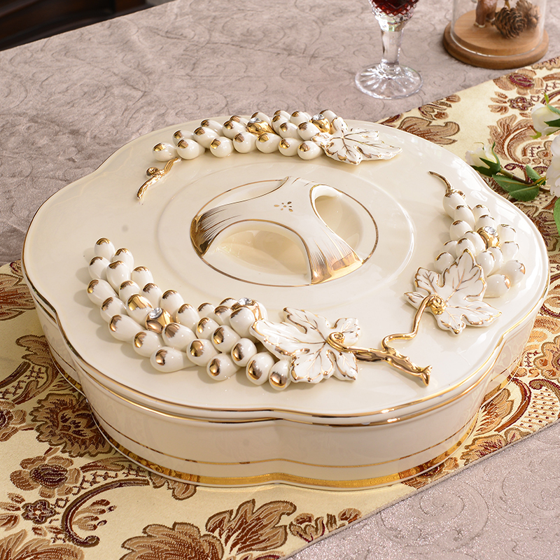 USD 101.29] European-style ceramic dried fruit plate with cover ...