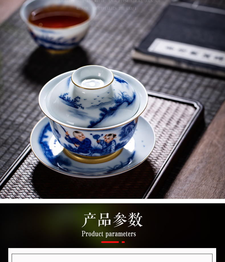 All hand jingdezhen blue and white only three tureen single thin foetus ceramic cups tea bowl kung fu tea set