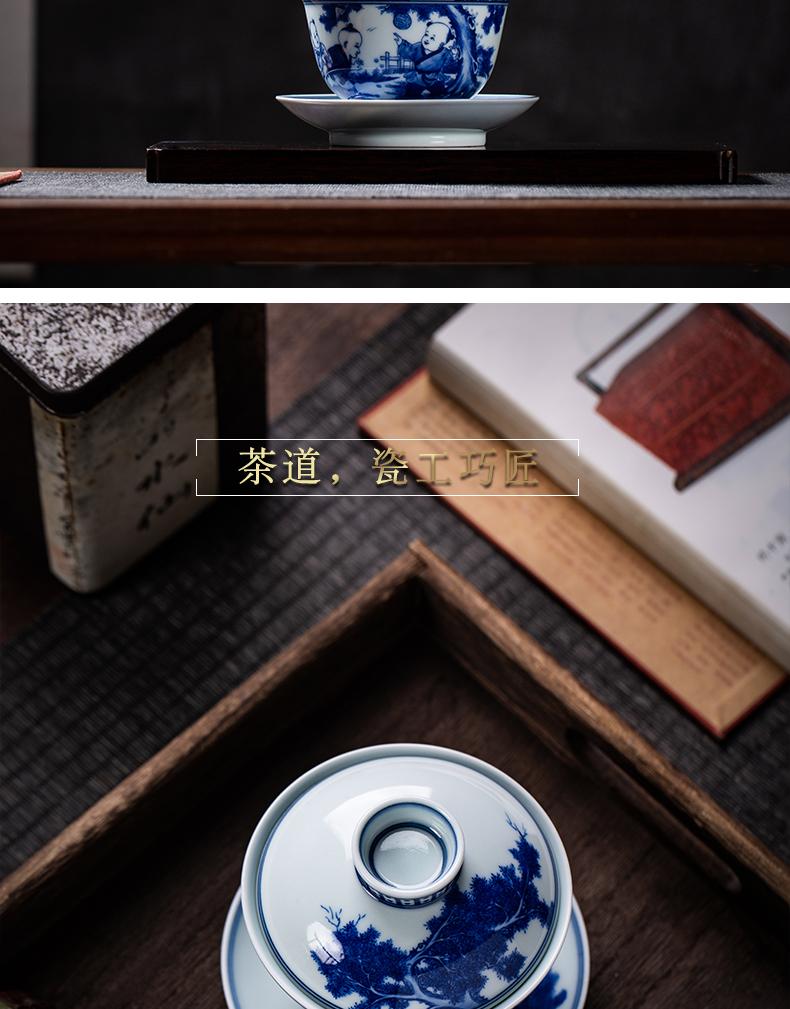 Only three pure manual maintain jingdezhen blue and white lad characters tureen teapot tea cups kunfu tea tea