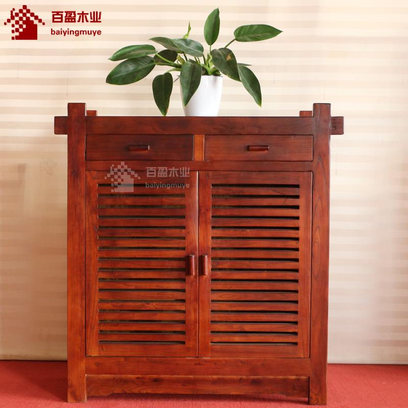 Solid Wood Shoe Cabinet Chinese Style Entrance Shoe Cabinet Space On The  Door Of The ...